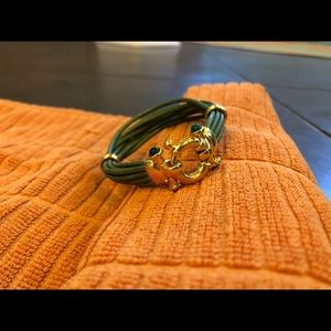 Jewelry - Gold tone and green 8 strand leather bracelet
